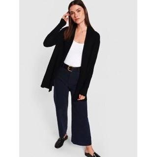 White & Warren Cashmere High Rib Cardigan - Black SMALL - The Posh Shop