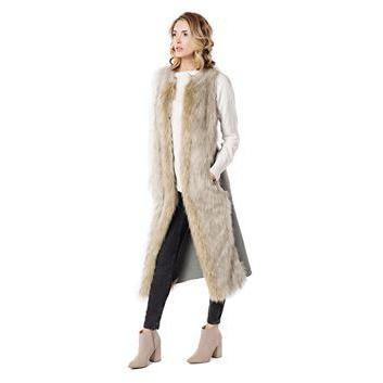 Wolf Faux Fur Full-Length Vest - SMALL - POSH