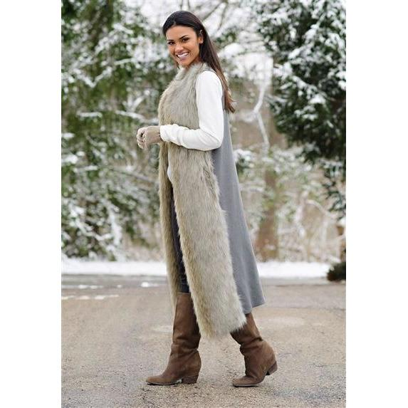 Wolf Faux Fur Full-Length Vest - SMALL - The Posh Shop