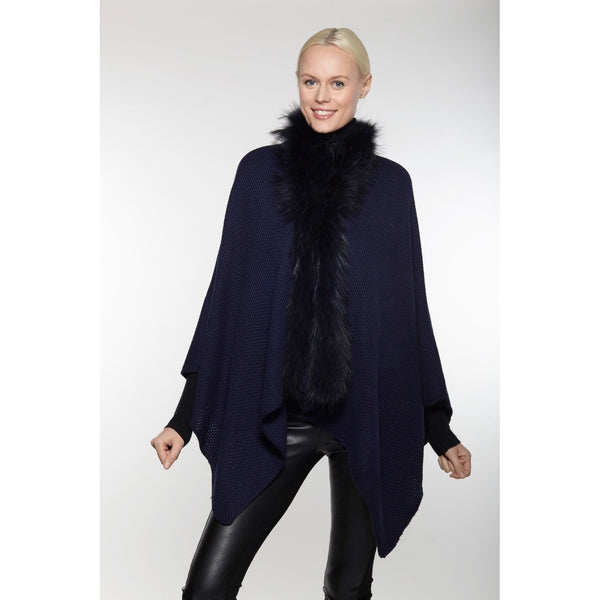 Wool and Fur Cape   Navy - The Posh Shop