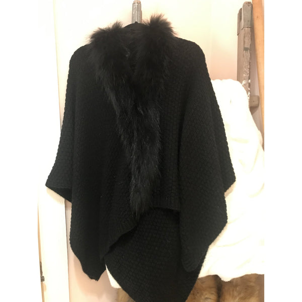 Wool with Fur Trim Cape   Black - The Posh Shop