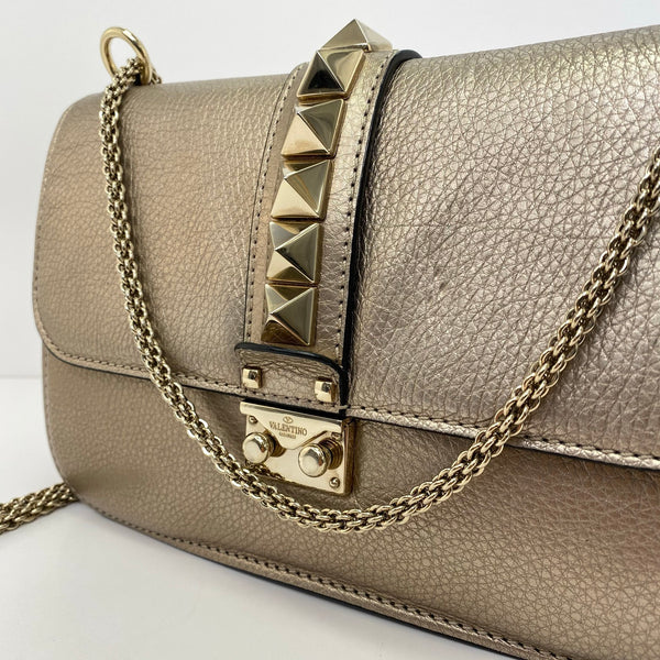 Valentino glam lock leather hand bag