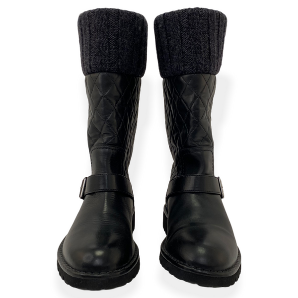 Chanel quilted leather boots