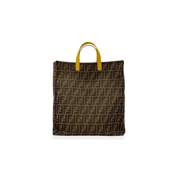 FENDI Tobacco Zucca yellow trimmed canvas tote