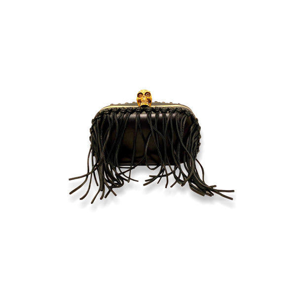 Alexander McQueen Classic Skull Fringed Leather Clutch