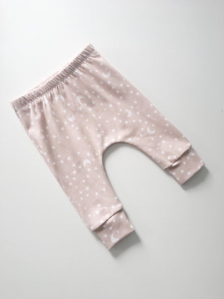 Blush Pink Moon and Stars Leggings