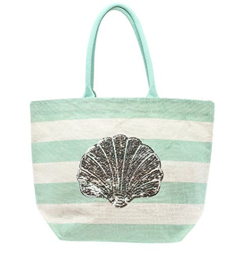 Blue and White Stripe Sequin Sea Life Tote Bag