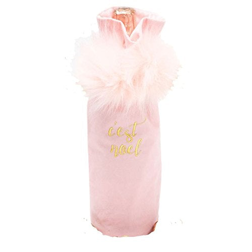 "Pink Velvet and Marabou ""C'est Noel"" Wine Bag"