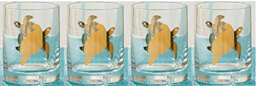 Gold Sea Turtle Glasses (Set/4)