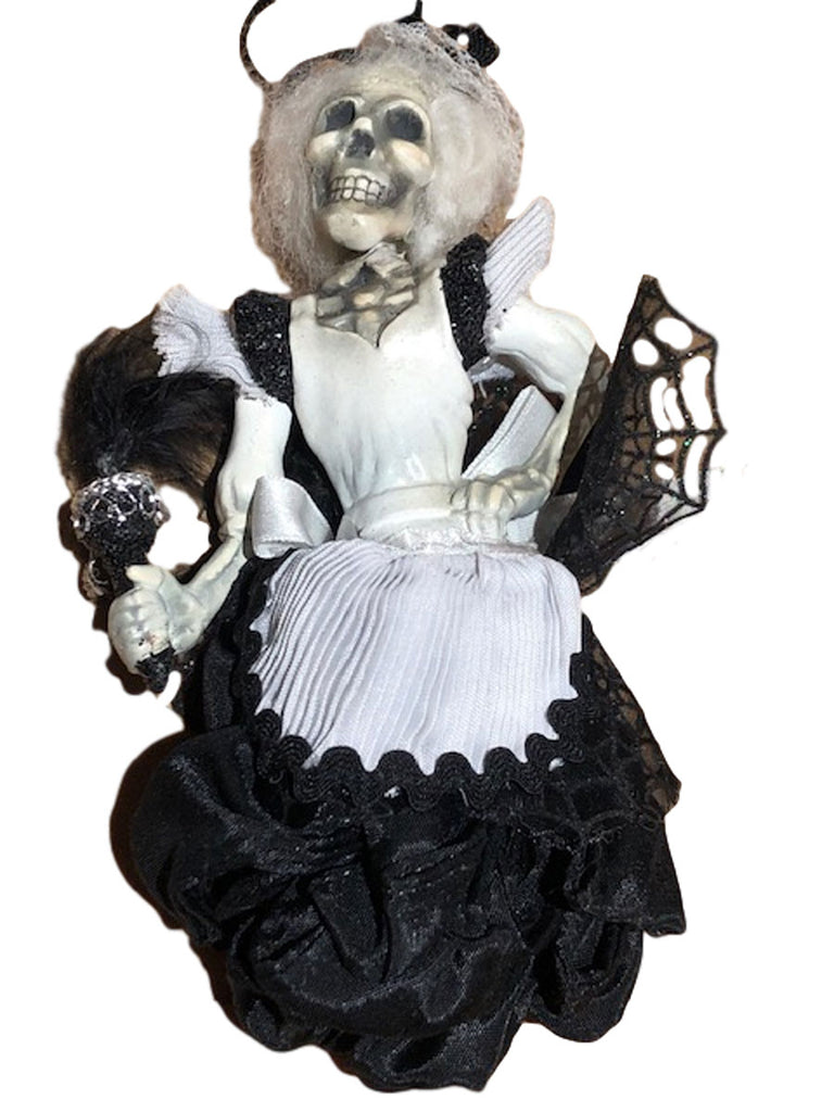 Katherine's Collection Halloween Skeleton Maid Ribbon Hanging Ornament