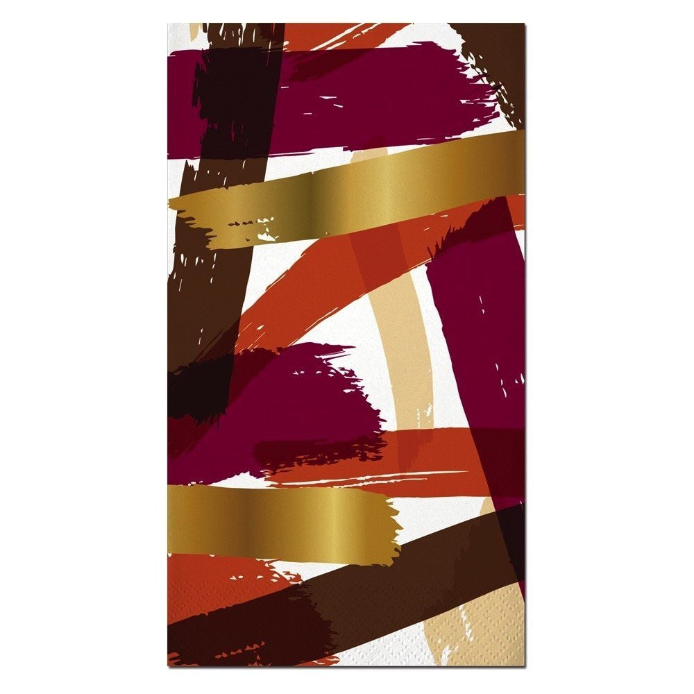 Orange and Brown Brush Strokes Gold Foil Paper Guest Towels