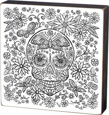 Color Your Own Box Sign - Sugar Skull