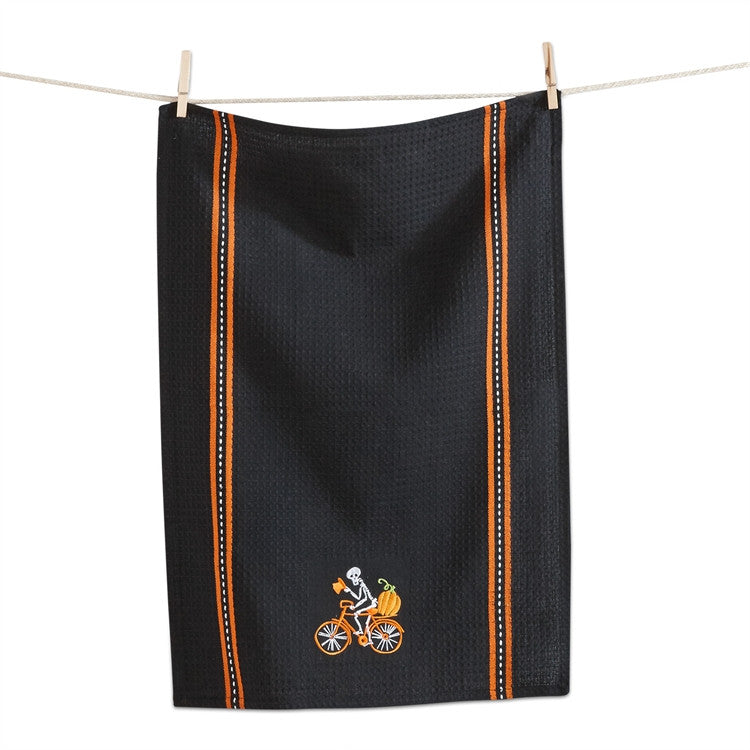 Tag Embroidered Skeleton Dish Towel