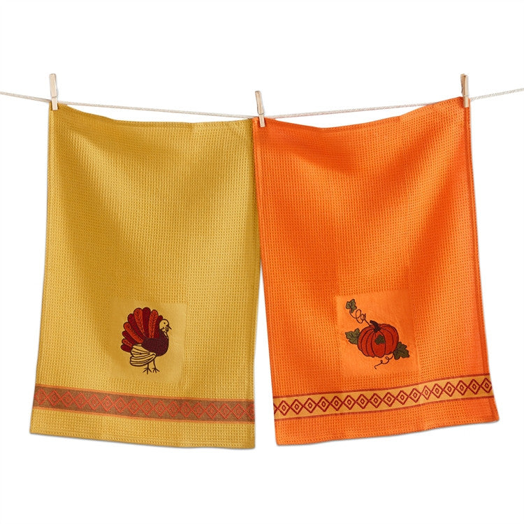 Embroidered Thanksgivng Turkey Dish Towels (Set/2)