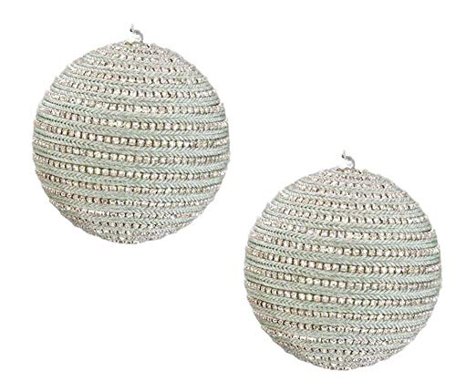Katherine's Collection Pastel Green Rhinestone Ball Ornaments Set of Two