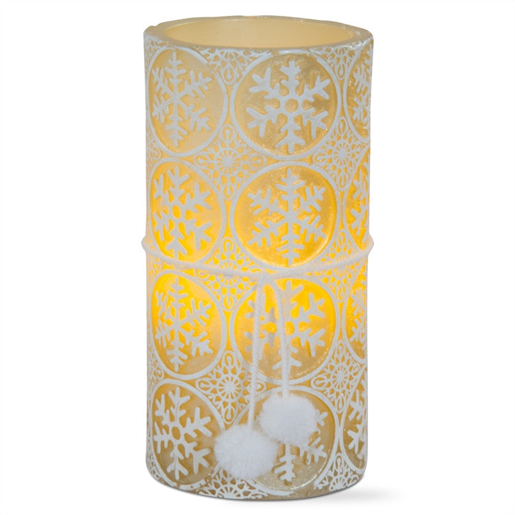 Embossed Snowflakes LED Pillar Candle