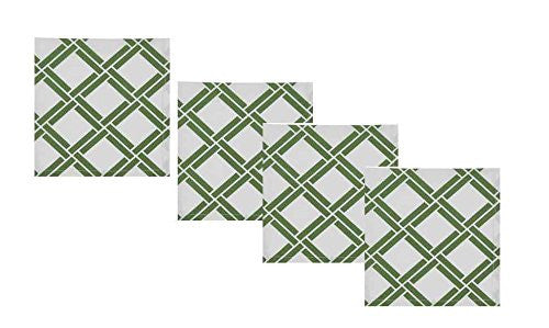 Bamboo Lattice Green and White Napkins (Set/4)