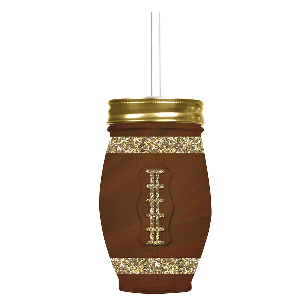 Slant Football Shape Glass Drink Sipper