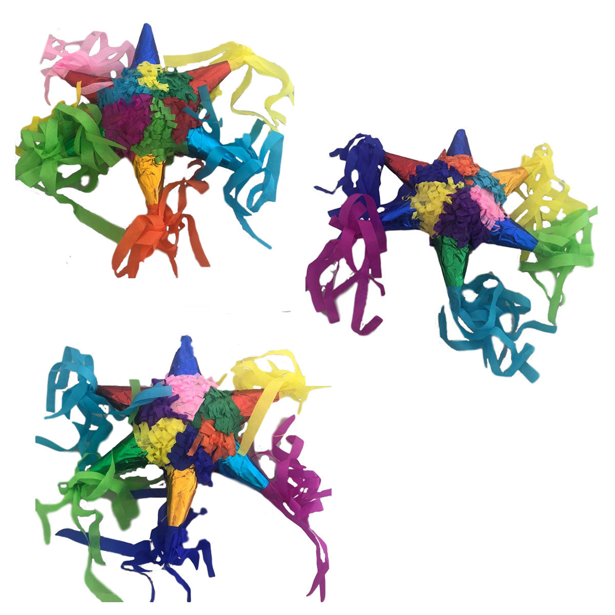 Colorful Star Miniature Pinatas (Set/3)