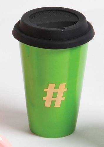 Slant Hashtag Ceramic Travel Mug