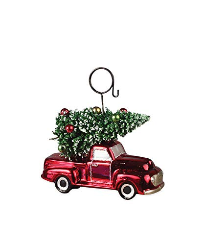 Bethany Lowe Vintage Red Truck and Christmas Tree Placecard Holder
