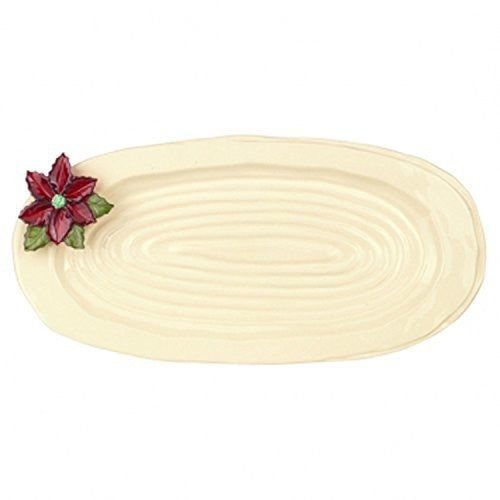 "Pinewood Poinsettia Ceramic 15"" Oval Platter"