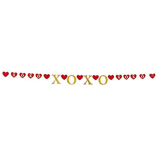 Gold XOXO Red Hearts Garland