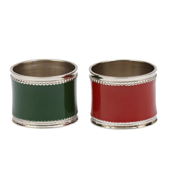 Classic Red Green Enamel Napkin Rings (Set/4)