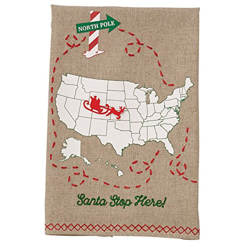 Santa Stop Here Embroidered Hand Towel