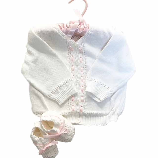 White Knit Cardigan and Matching Booties Set 3-6 months
