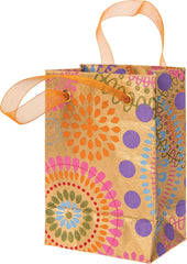 "Gold Medallion Print 6"" Paper Gift Bag"