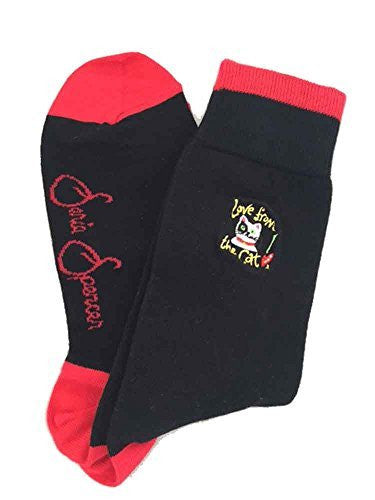 Sonia Spencer Love from the Cat Embroidered Men's Socks