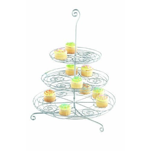 3-Tier Silver Swirl Cupcake Holder
