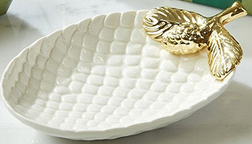 White and Gold Pinecone Dish