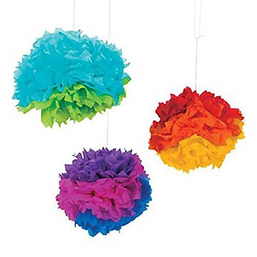 Multicolors Pom Pom Hanging Decorations - Set of 3