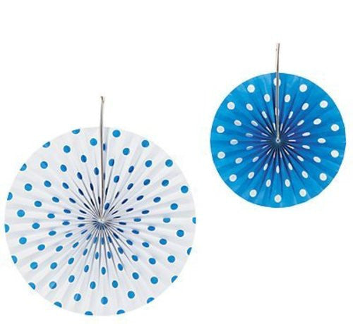 Blue and White Polka Dot Hanging Fans Decorations