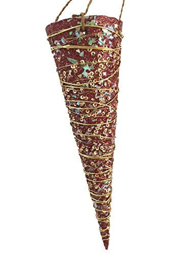 Sequin Burgundy Hanging Cone Ornament