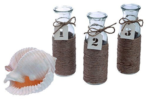 Cape Cod Style Jute Wrapped Vase Set, 7.75-Inch by 2.5-Inch, Set of 3