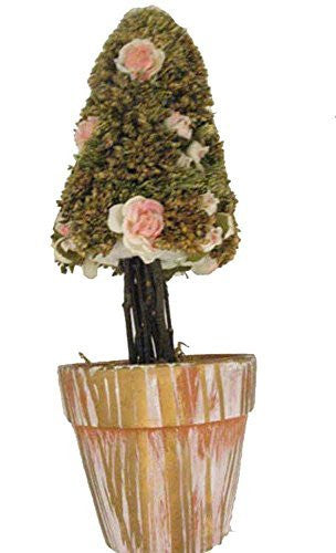 Silk Flower Cone Topiary Tree in Ceramic Pot