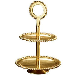 Beaded Polish Gold Two Tier Serving Stand