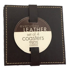 Brown Leather Coasters - Set of 4