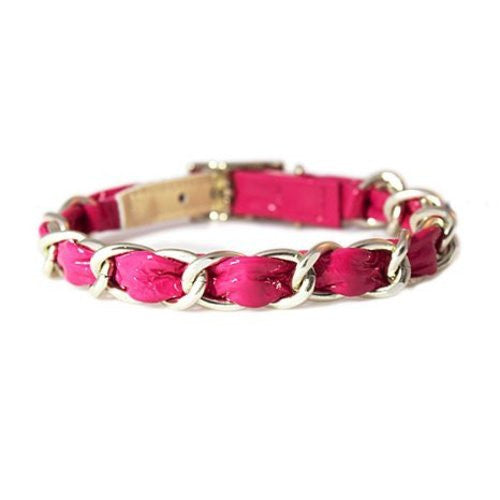 Robin Meyer Crinkle Patent Leather Chain Dog Collar