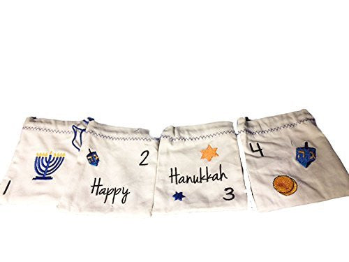 Embroidered Canvas Pouches Hanukkah Banner