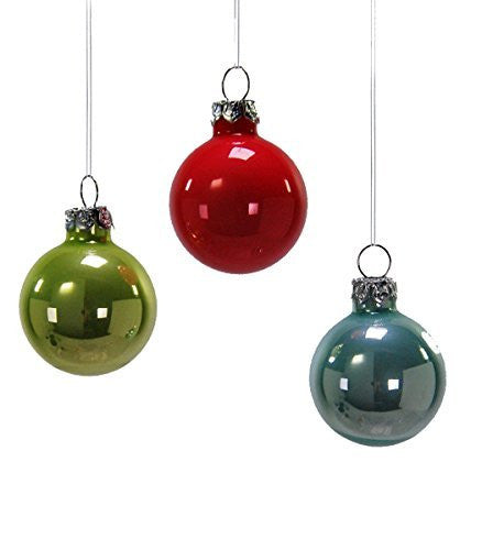 Red Green Blue  Hanging Ball Ornaments Set of 3