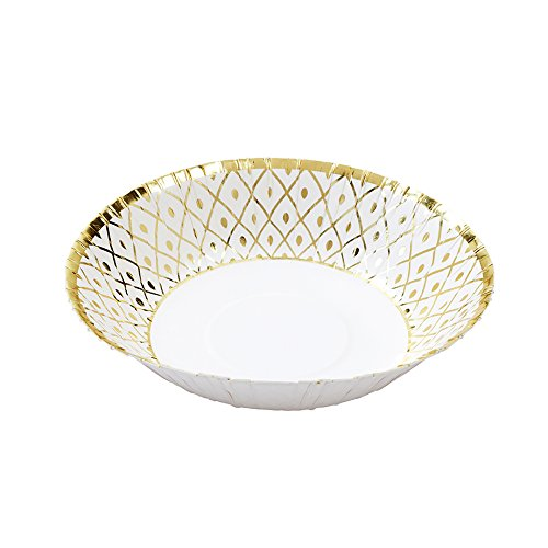 White and Gold Foil Paper Bowls