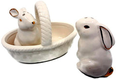 Bunny Salt and Pepper Shakers in a Basket