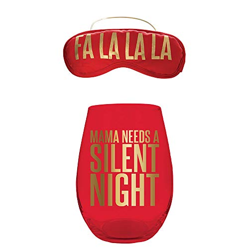 Slant Mama Needs a Silent Night Stemless Red Wine Glass and Eye Mask Set