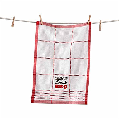 Embroidered Eat Drink BBQ Waffle Weave Dishtowel