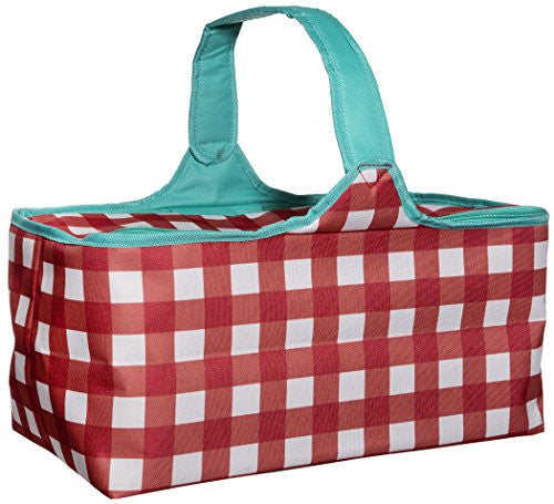 Red and White Check Picnic Tote Basket