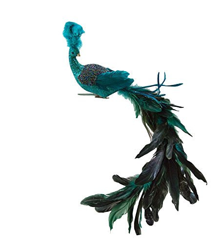 "Katherine's Collection Feather and Beaded Aqua 32"" Bird Clip on Ornament"
